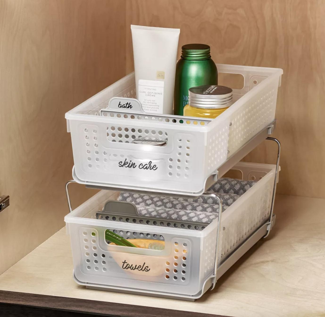 the clear white storage shelf