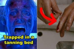 """并排侧""""死神3""""女人被困在晒黑床和被活活烧死,并从""""黑天鹅""""尼娜的另一个PIC拉她的倒刺皮肤alllll一路下来她的手指"""