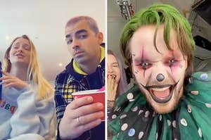 Sophie Turner and Joe Jonas singing and Liam Payne dressed like a scary clown