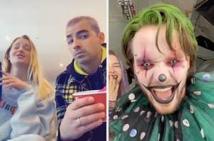 Sophie Turner and Joe Jonas singing and Liam Payne dressed like a scary clown