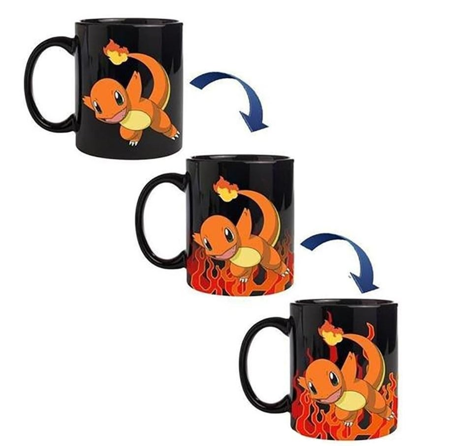 A diagram that shows how the mug changes from black with Charmander on it to Charmander surrounded by flames when a hot drink is added