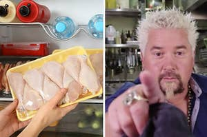 Side-by-side images of raw chicken and Guy Fieri pointing at you