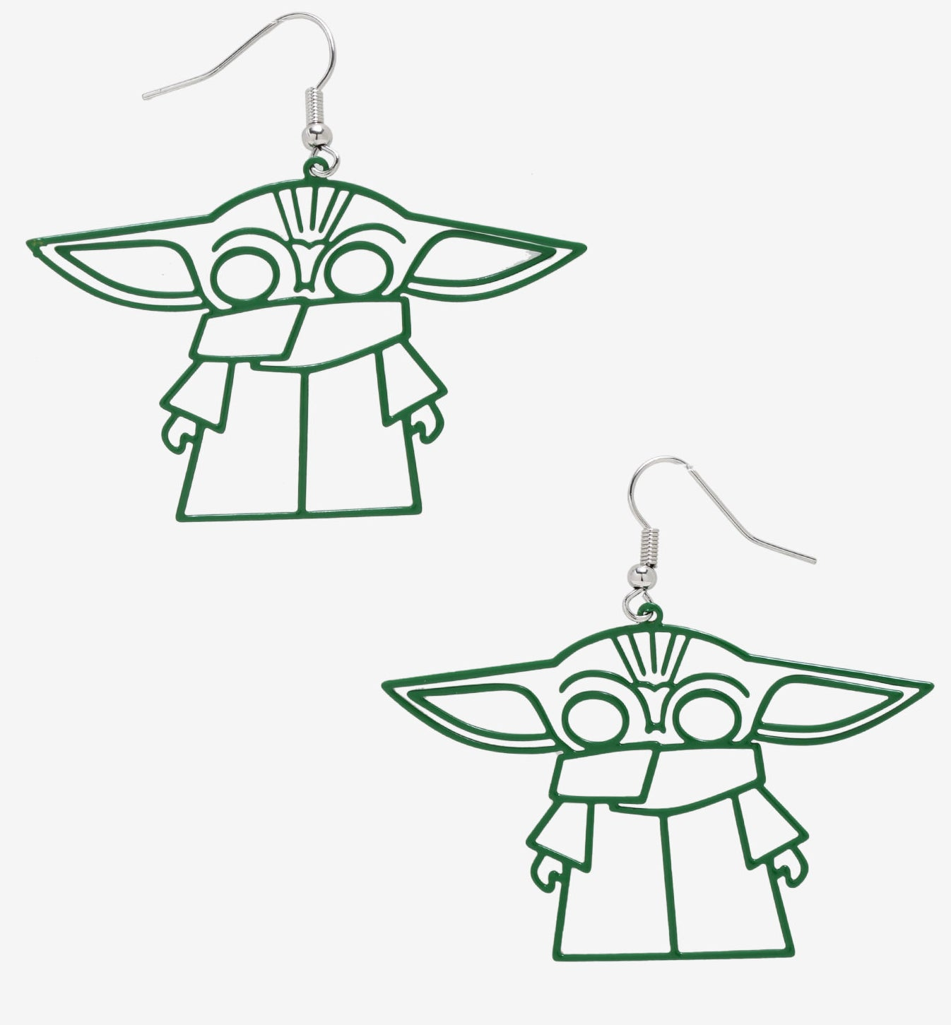 The earrings, which are each a large green wire frame design in the shape of Baby Yoda