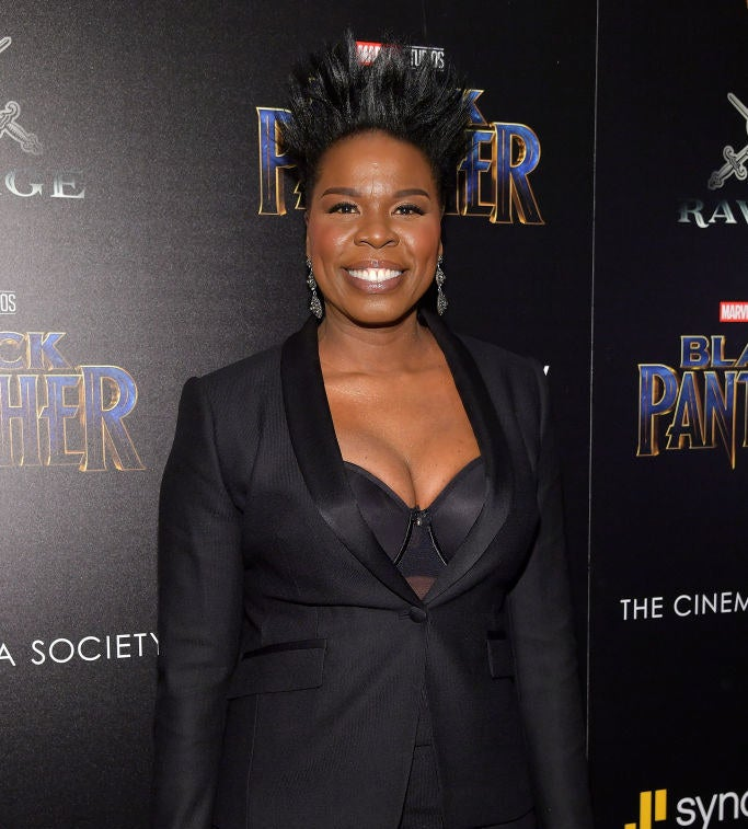 """Leslie attends the NYC screening of """"Black Panther"""" in 2018"""