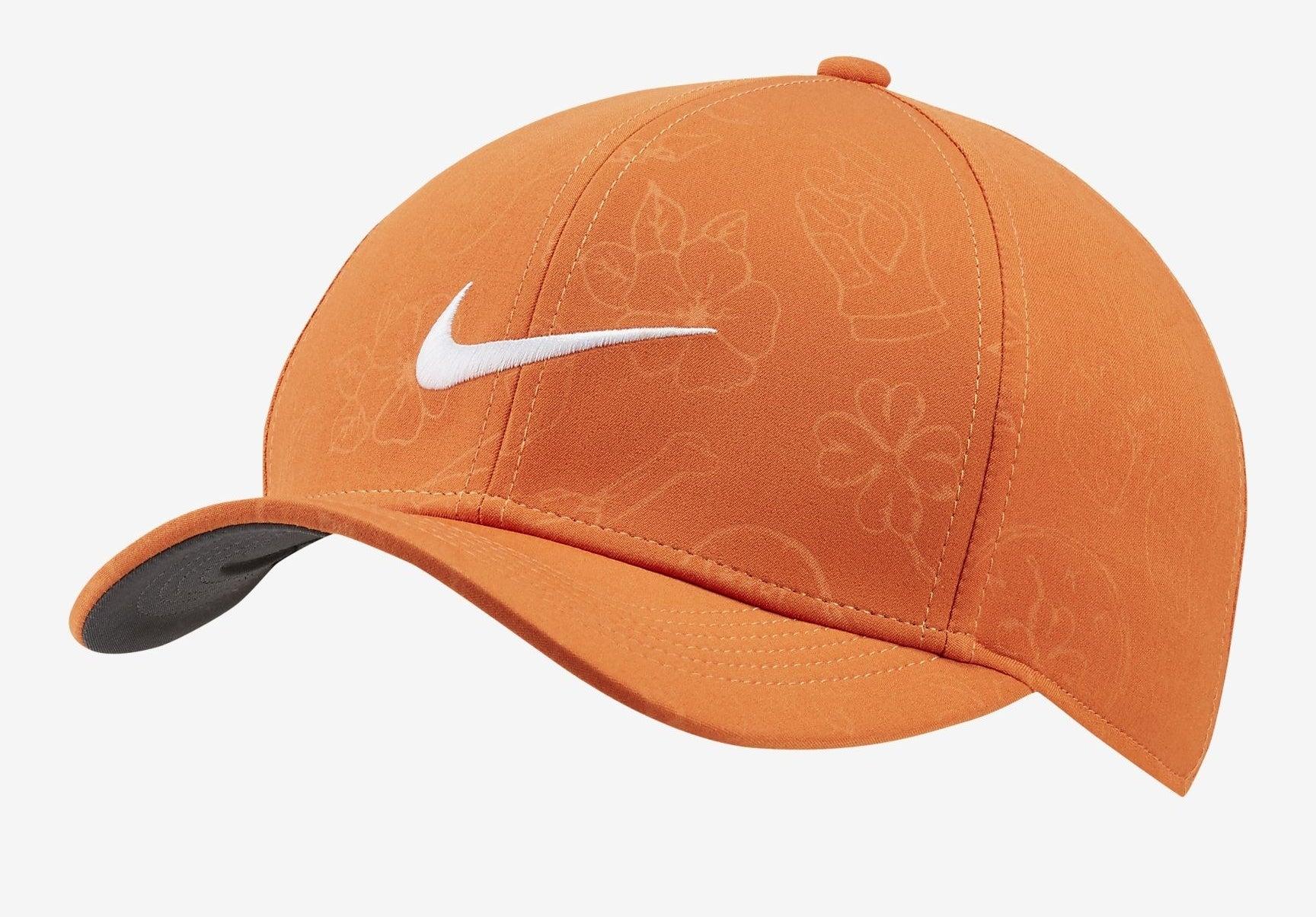 the orange tropical print hat