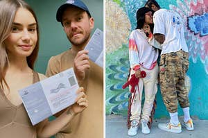 Lily Collins and Charlie McDowell holding up their ballots; Iman Shumpert and Teyona Taylor necking.