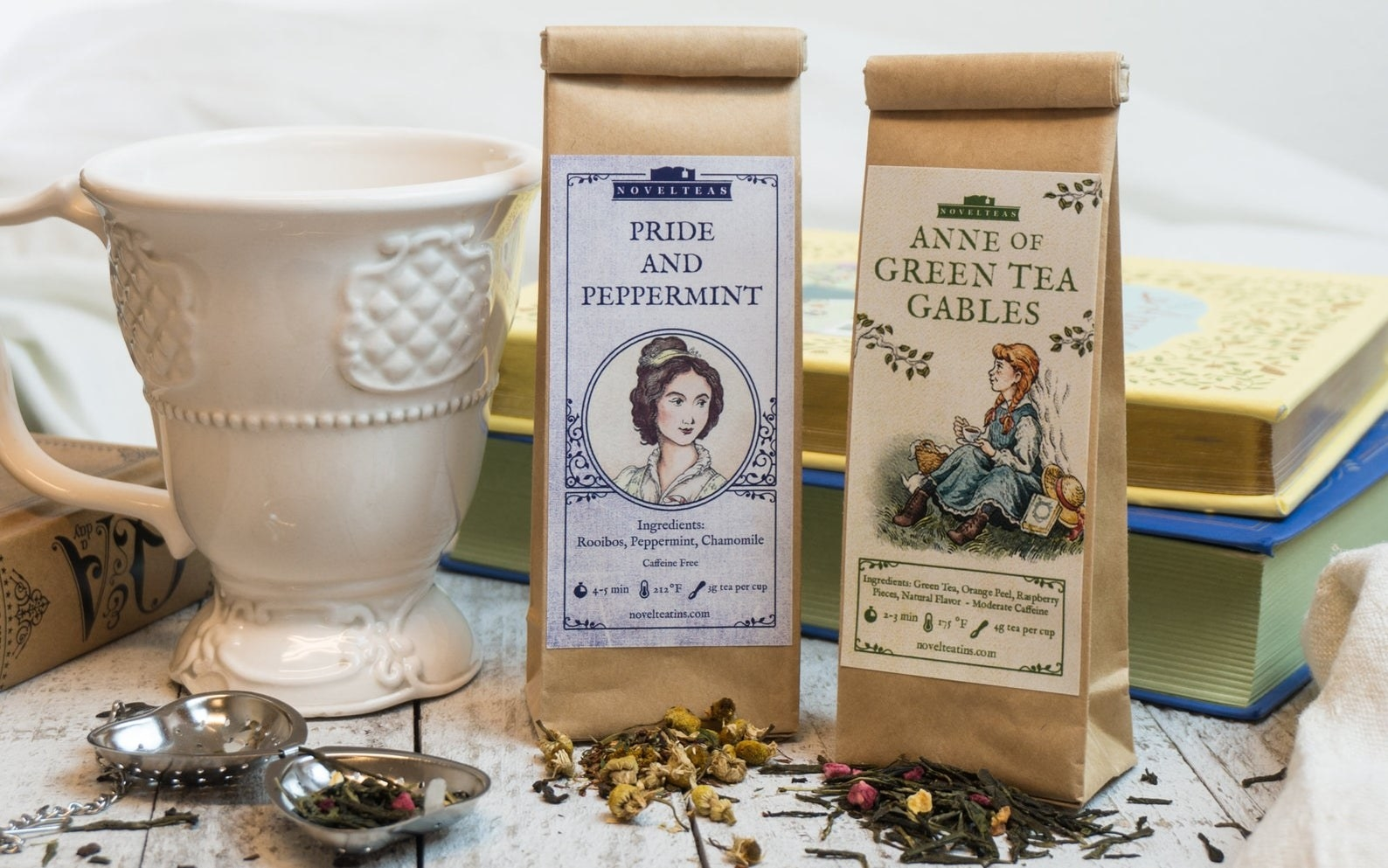 "Two brown bags with tea in them labeled ""Pride and Peppermint"" and ""Anne of Green Tea Gables"""