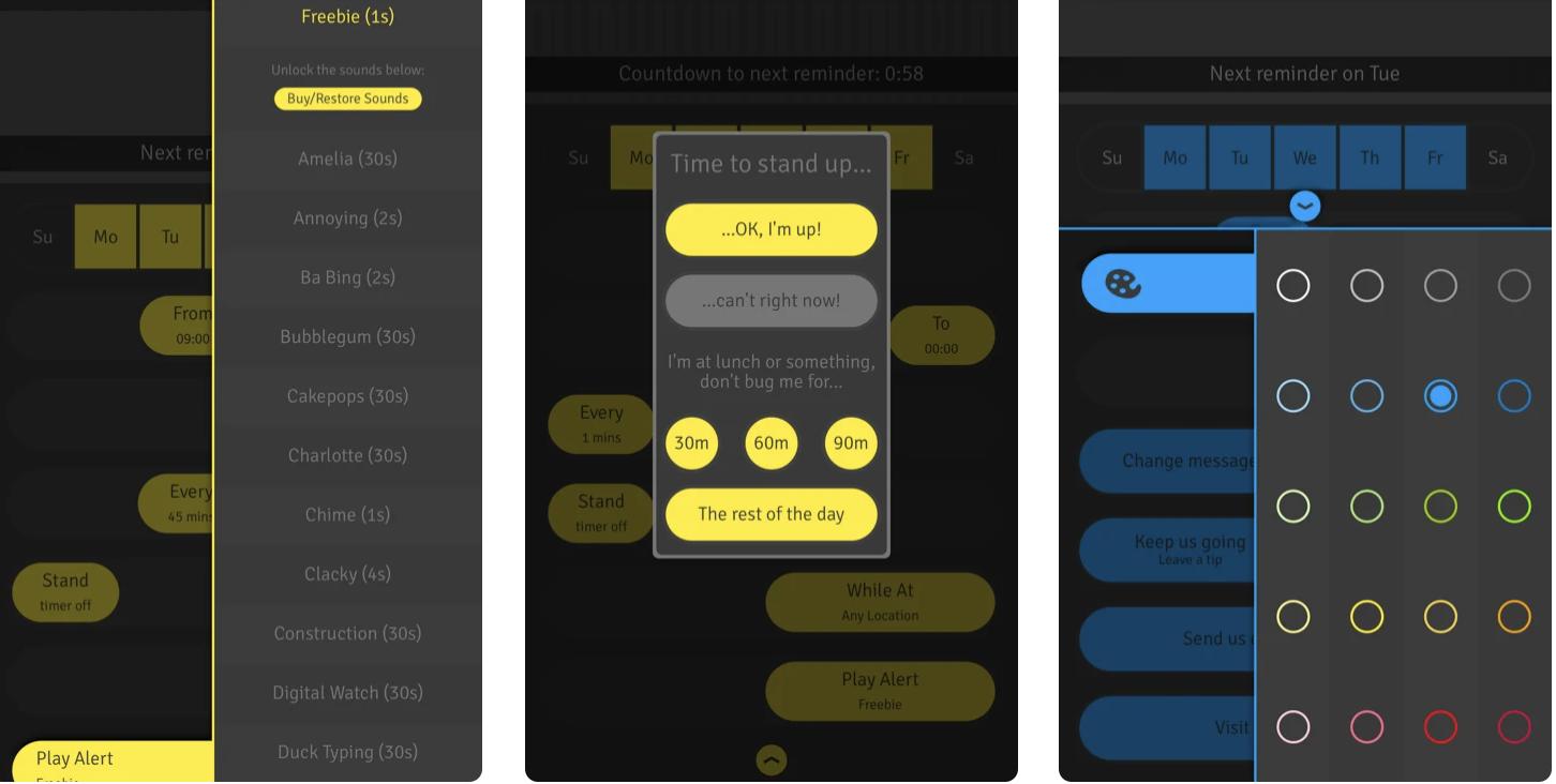 Screenshot of the StandUp! app