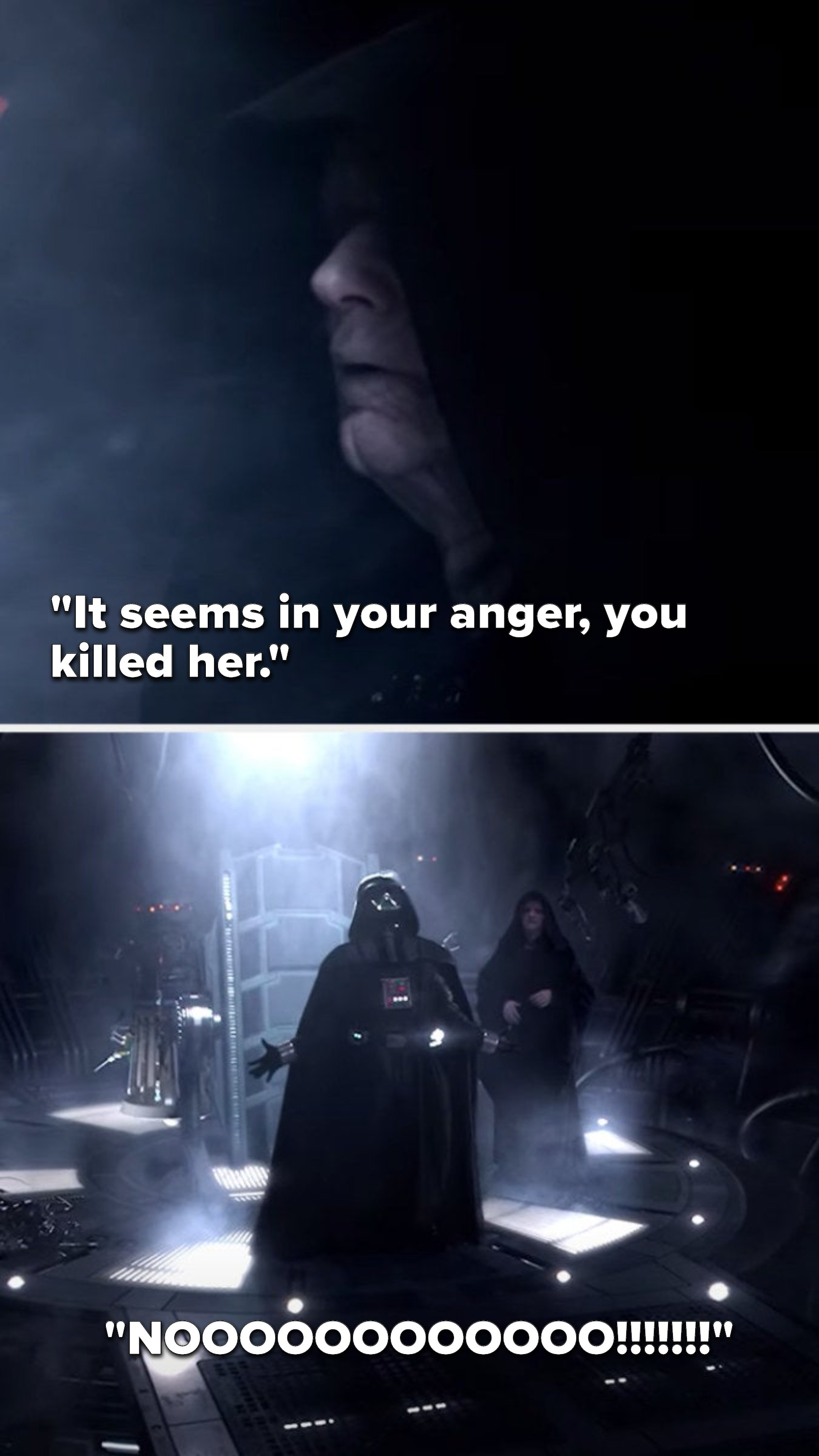 "Palpatine says, ""It seems in your annger you killed her,"" and Anakin/Darth Vader just screams ""No"""