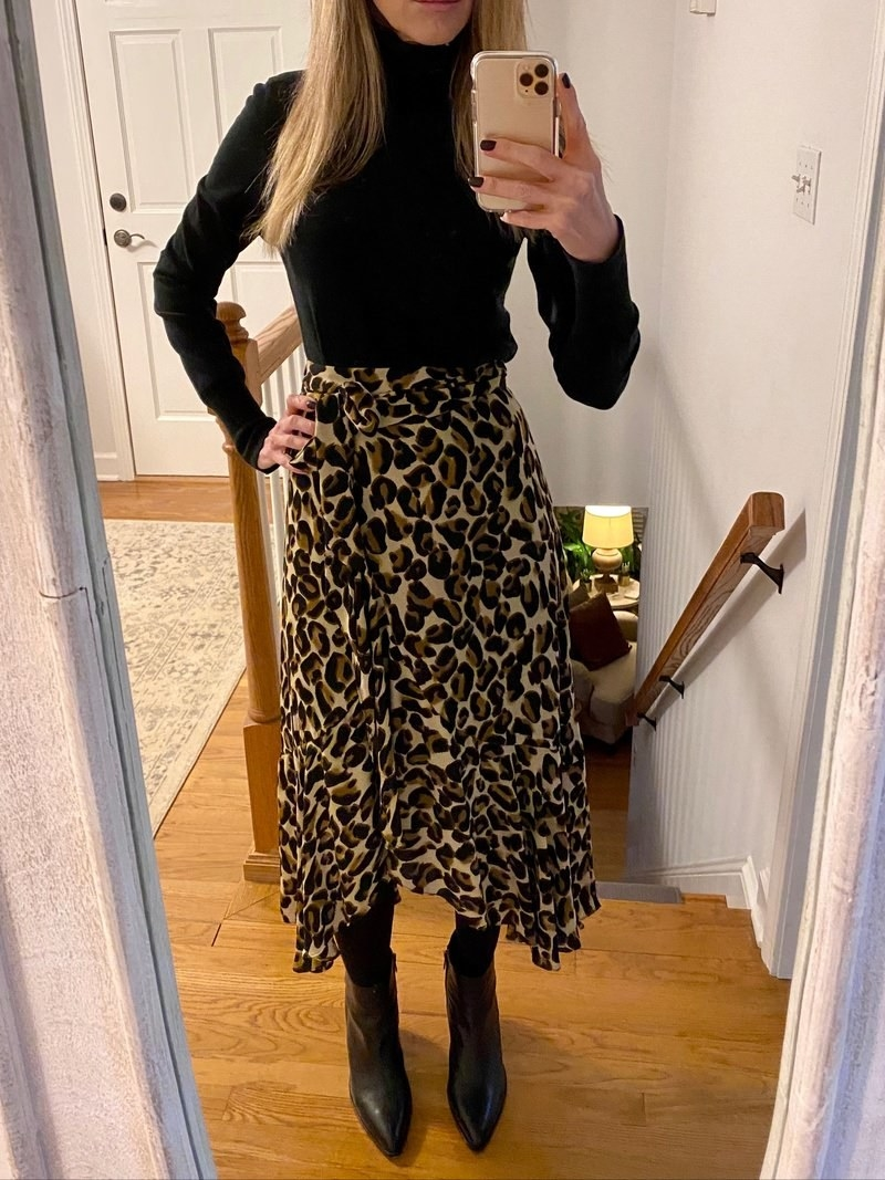 Reviewer in the wrap skirt