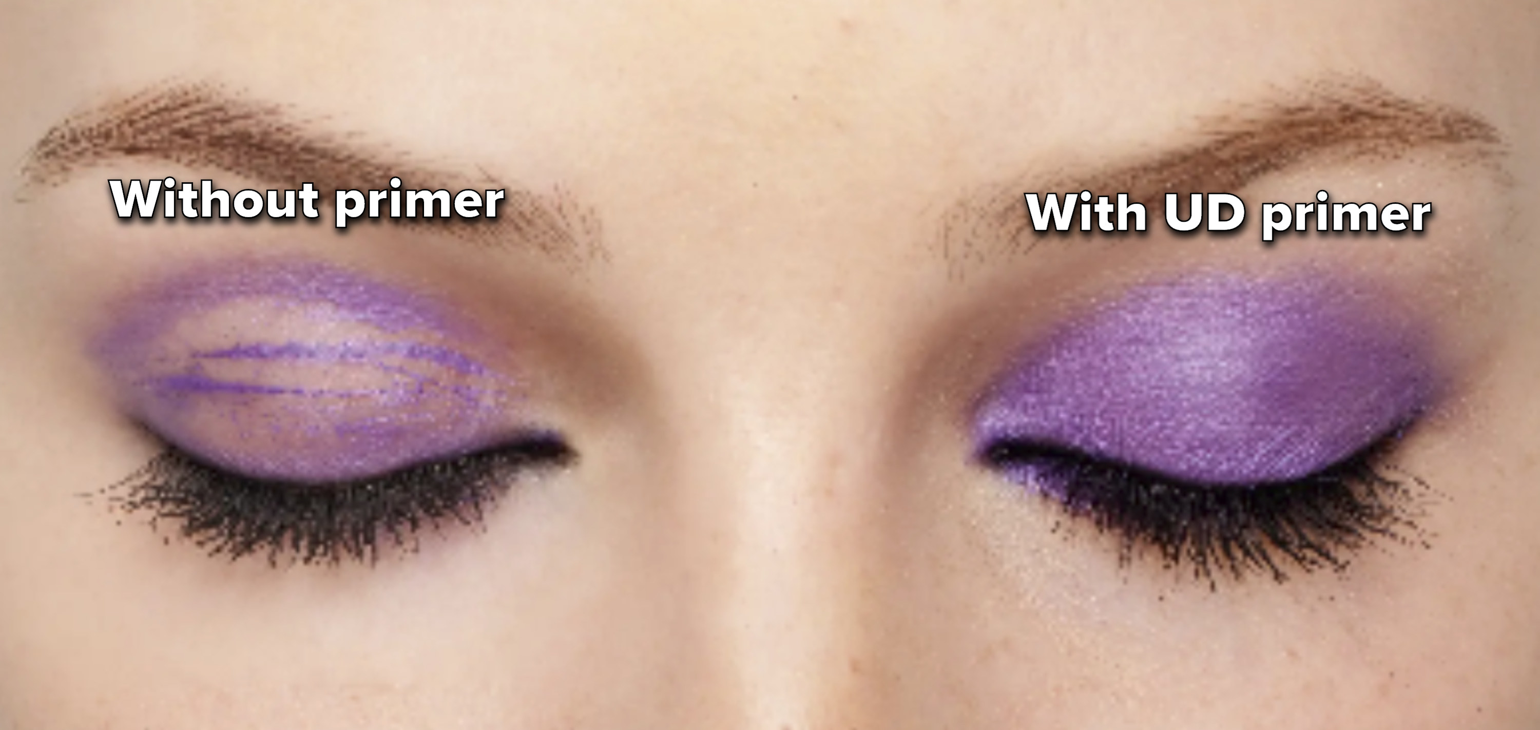 left side shows a model's eyelids with faded shimmery purple eyeshadow and the right eyelid shows the eyeshadow with primer which is fully intact