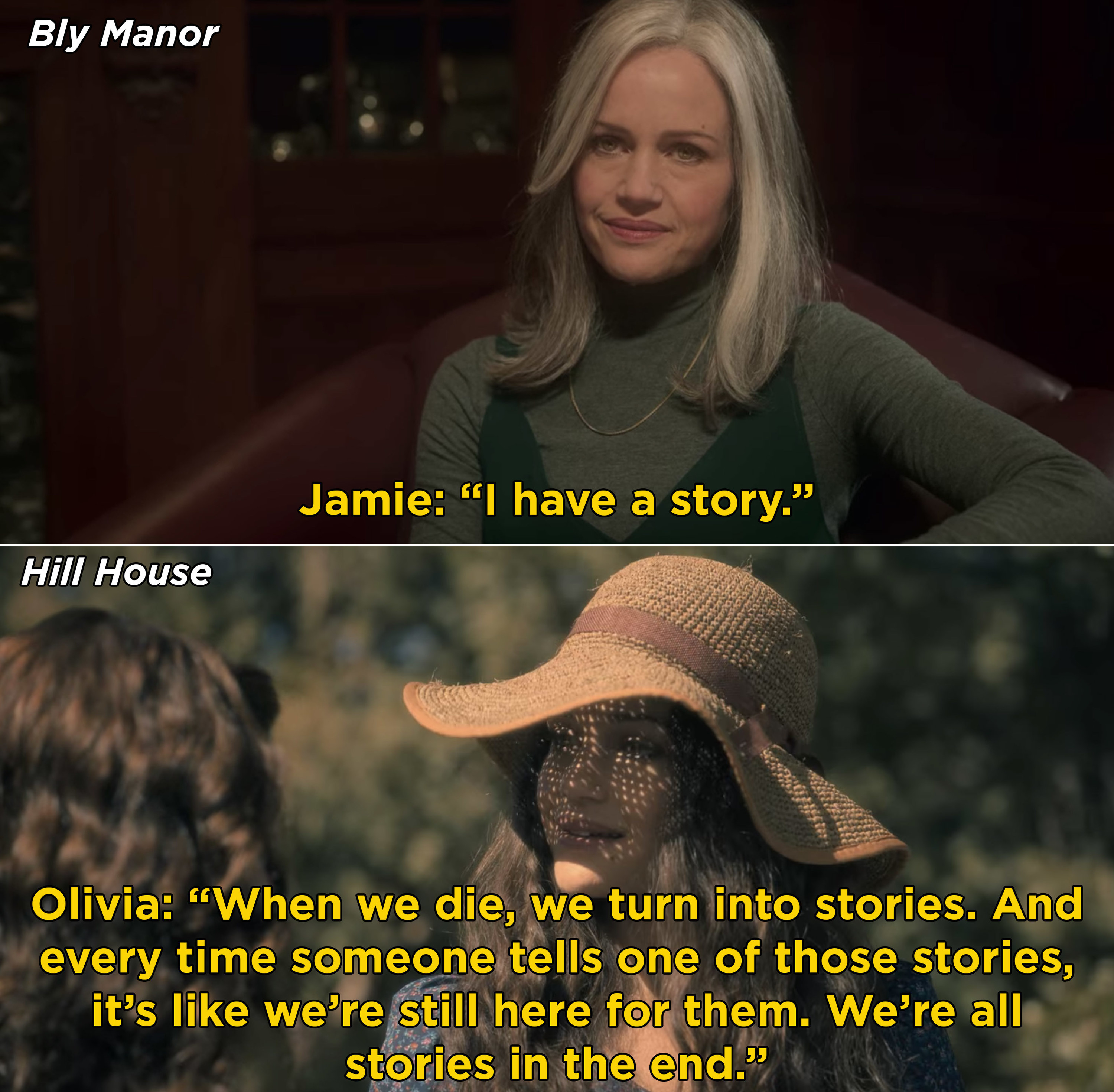 """Olivia telling Shirley that """"when we die we turn into stories. And every time someone tells one of those stories, it's like we're still here for them"""""""