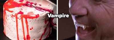 A bloody designed cake with a butcher's knife in it and a screenshot of a vampire's mouth from a DCOM