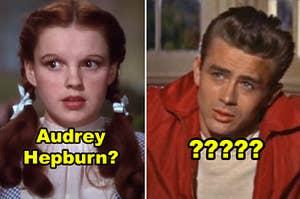 """并排侧多萝西在""""绿野仙踪""""和詹姆斯·迪恩穿着他那标志性的红夹克""""无因的反叛"""""""