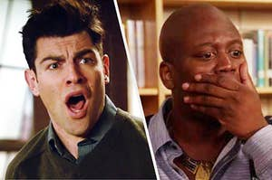 Schmidt from New Girl and Titus from Kimmy Schmidt being shocked