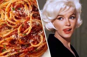 A bowl of tomato sauce pasta next to Marilyn Monroe biting her lip