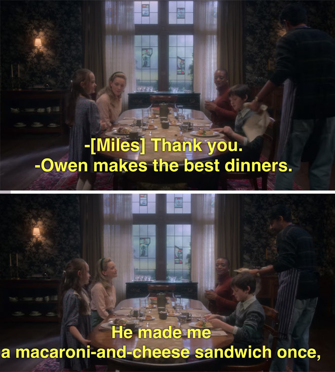 Flora talking about how Owen made her a mac 'n' cheese sandwich once