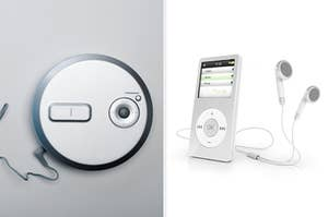 Side-by-side images of a CD player and an MP3 player