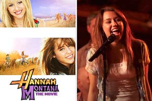 """""""Hannah Montana: The Movie"""" poster then a still of Miley singing the """"Hoedown Throwdown"""" in the movie"""