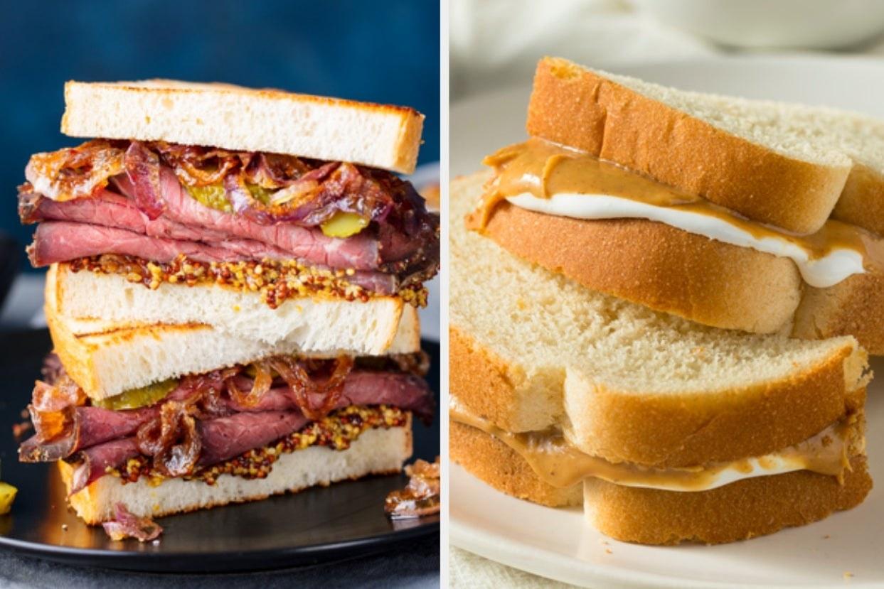 Pastrami sandwich and fluffernutter sandwich