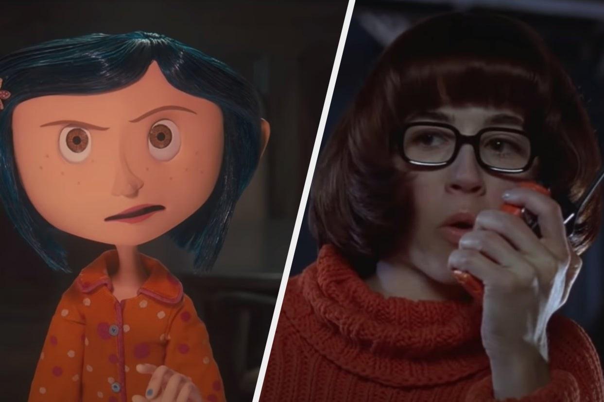 "Coraline in pajamas looking upset and Velma in ""Scooby-Doo"" talking in a walkie-talkie"