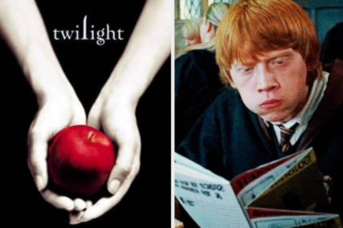 """Twilight"" book cover and Ron Weasley in ""Harry Potter"" eating and reading"