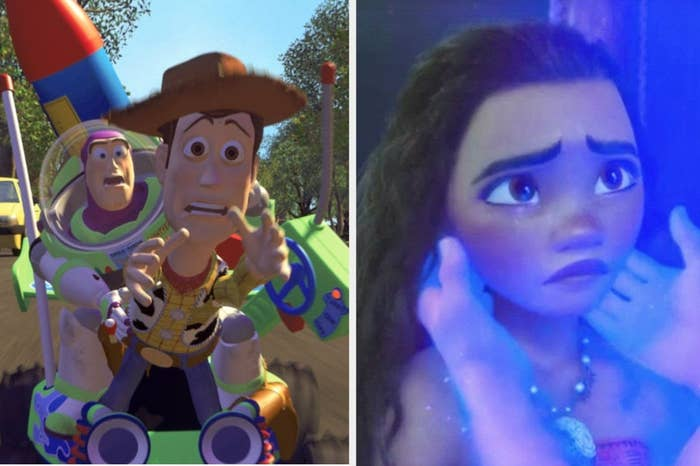 """Woody and Buzz Lightyear in """"Toy Story"""" and Moana crying in """"Moana"""""""
