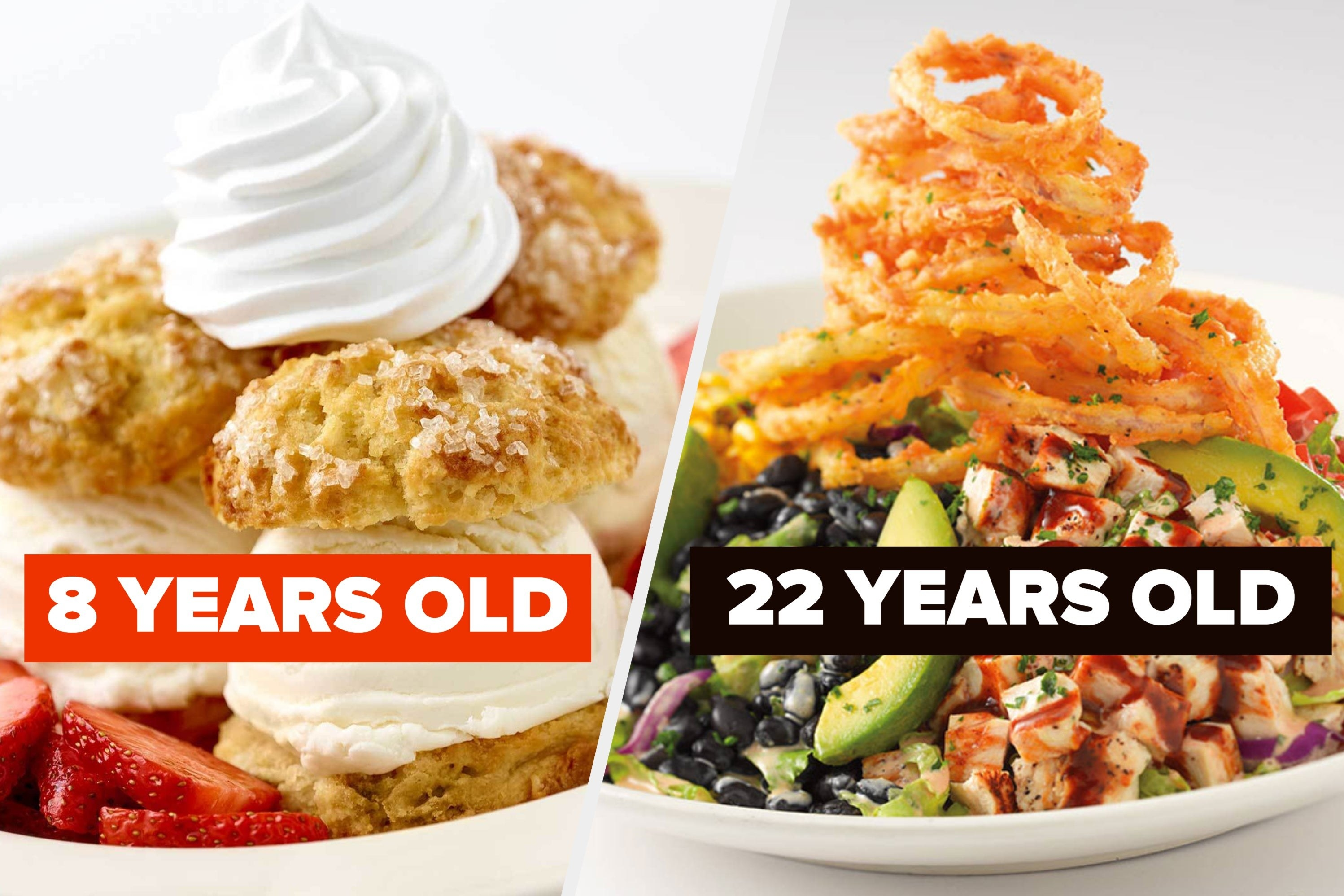 "Strawberry shortcake with the words ""8 years old"" and barbecue ranch chicken"