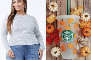 model in grey sweater; pumpkin-print starbucks tumbler