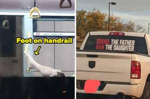 Someone putting their foot on a handrail on the left, and a bumper sticker that says