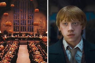 An image of the great hall decorated with pumpkins for halloween next to an image of Ron