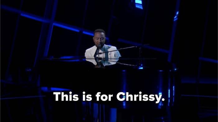 John Legend dedicating his performance to Chrissy