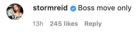 """Actor Storm Reid comments """"Boss moves only"""" under Michael's Instagram post"""