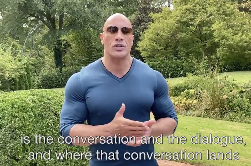 The Rock in a skin-tight shirt