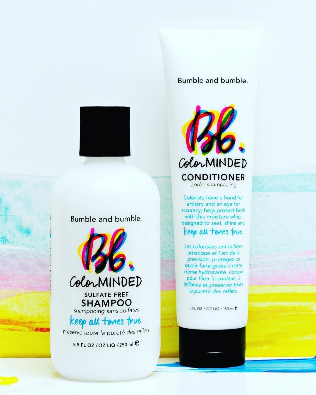 The two products on a colourful background