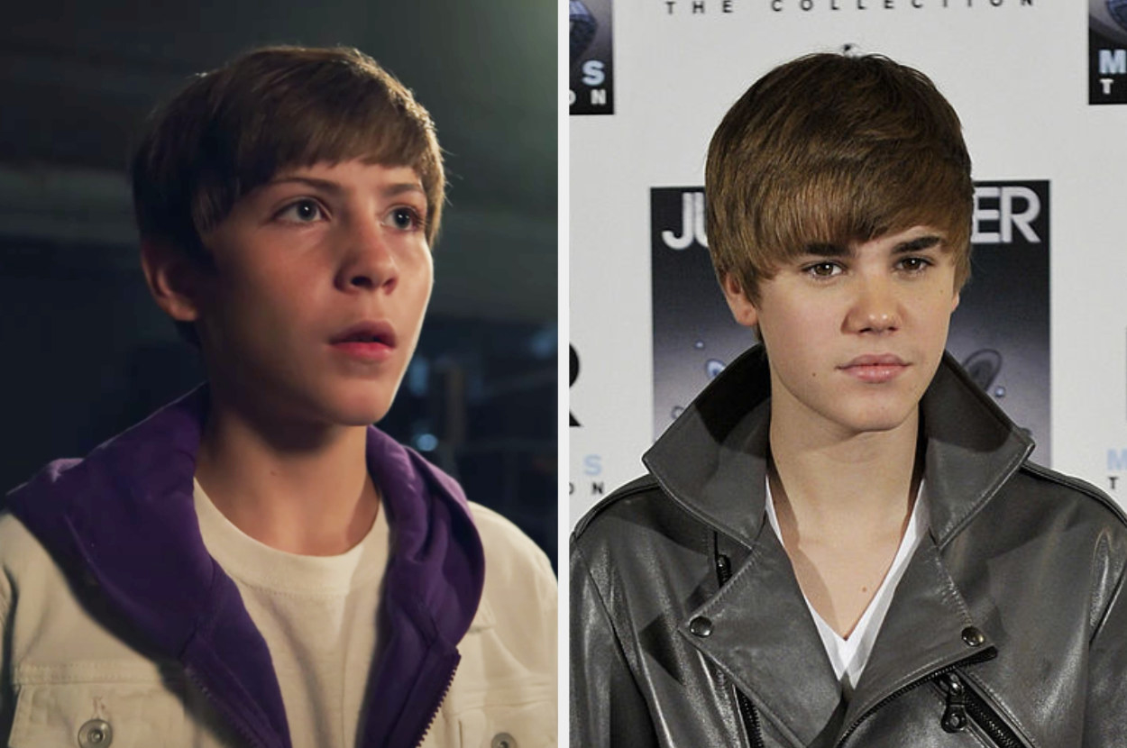 Jacob has Justin's bowl cut in the music video next to 2010 Justin at a red carpet event with the iconic haircut
