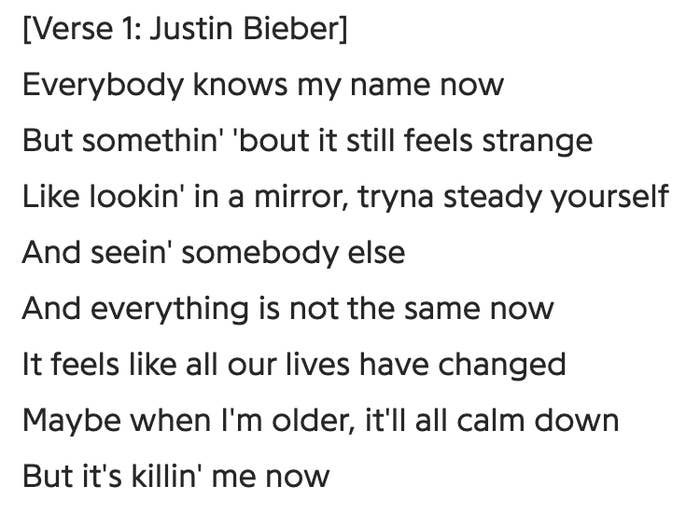 "Lyrics for Justin Bieber's ""Lonely,"" which includes somber lines such as ""Maybe when I'm older, it'll all calm down but it's killin' me now"""""