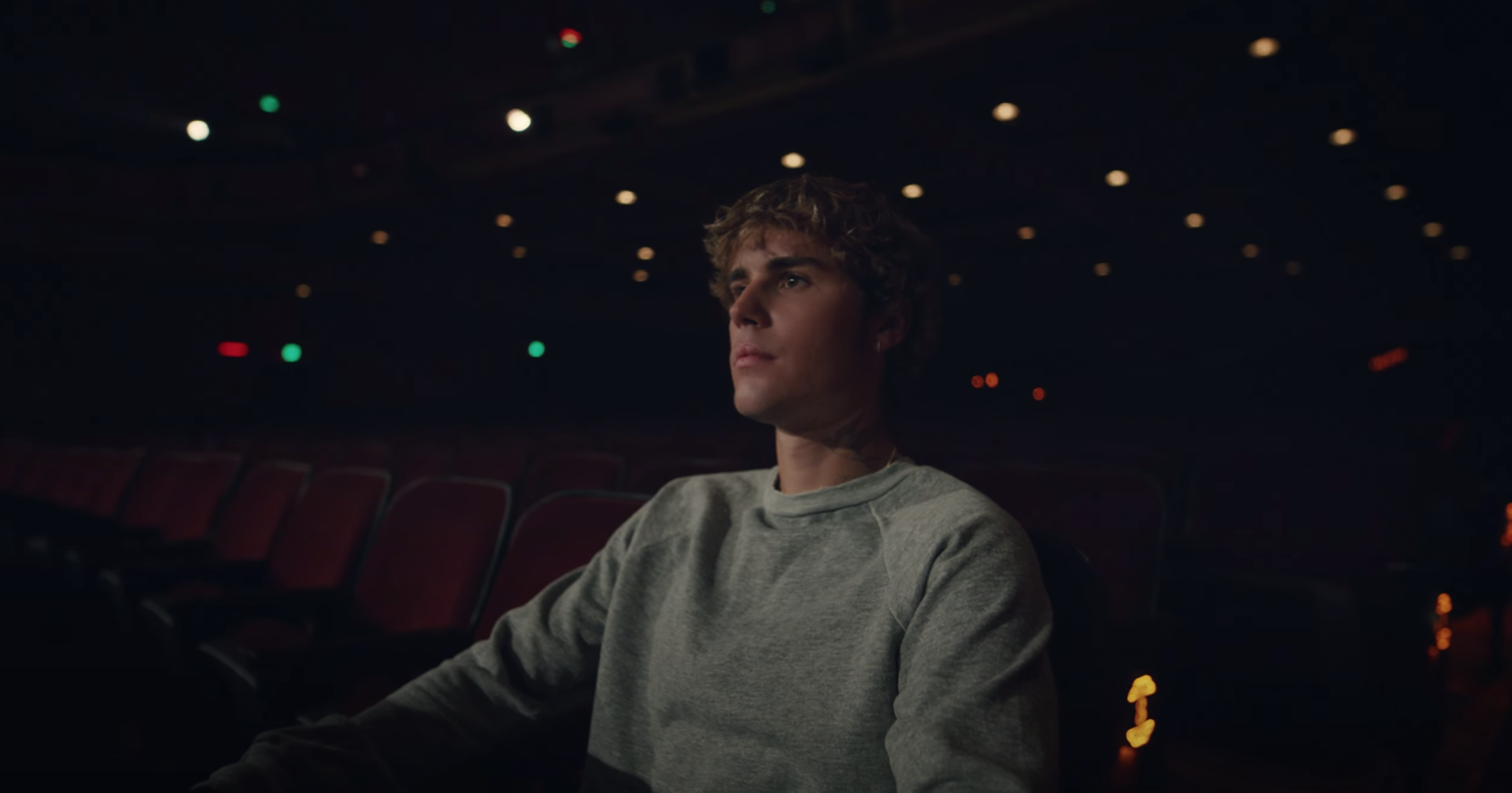 At the end of the music video, present-day Justin somberly watches young Justin on stage from the audience