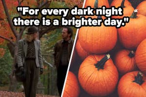 A couple is walking in a park on the left with pumpkins on the right labeled,