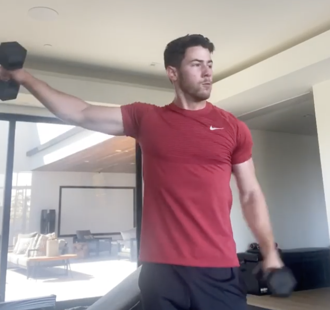 Nick Jonas working out