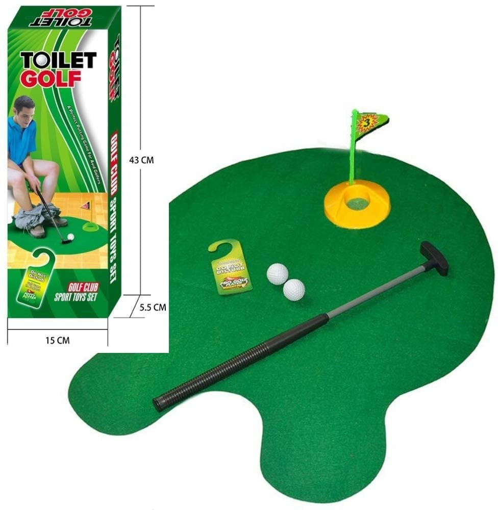 "a green rug that serves as the ""golf course"" which is shaped to fit around a toilet base. It has a small hole for putting the ball"