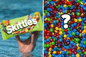A man holding a pack of Skittles is on the left with a pile of M&Ms and a question mark on the right