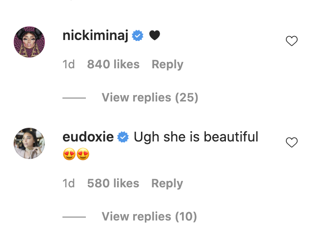 "Nicki Minaj commenting with a heart emoji, and Eudoxie Bridges commenting, ""Ugh she beautiful"" with two emojis with hearts for eyes"