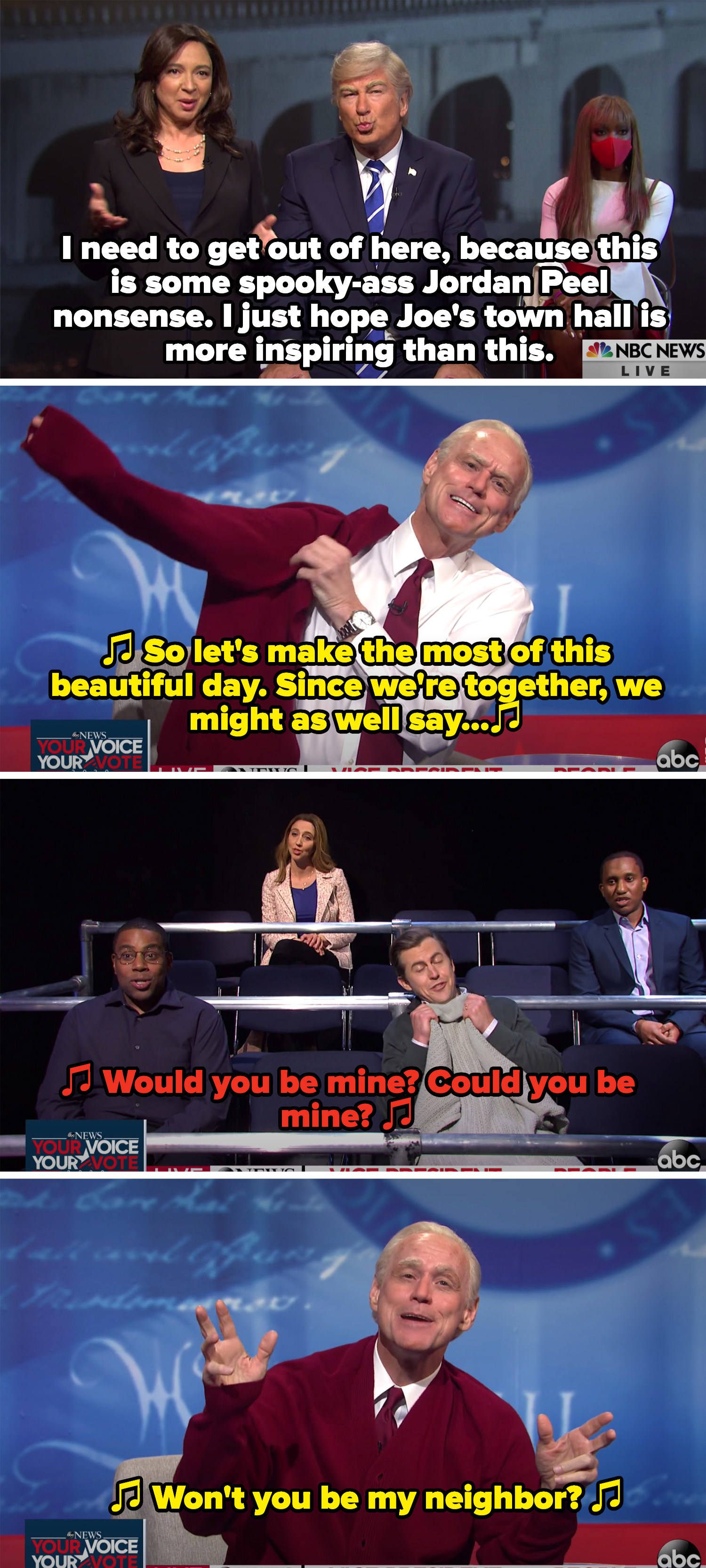 Joe dressed as Mister Rogers and the audience singing the theme song
