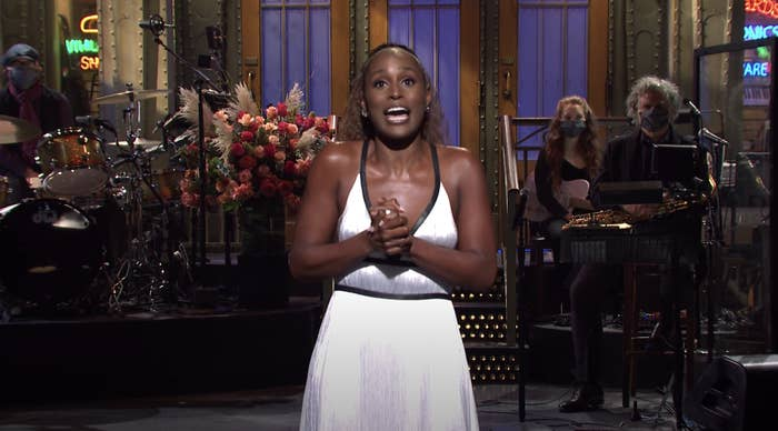 "Issa Rae doing her monologue on ""SNL"""