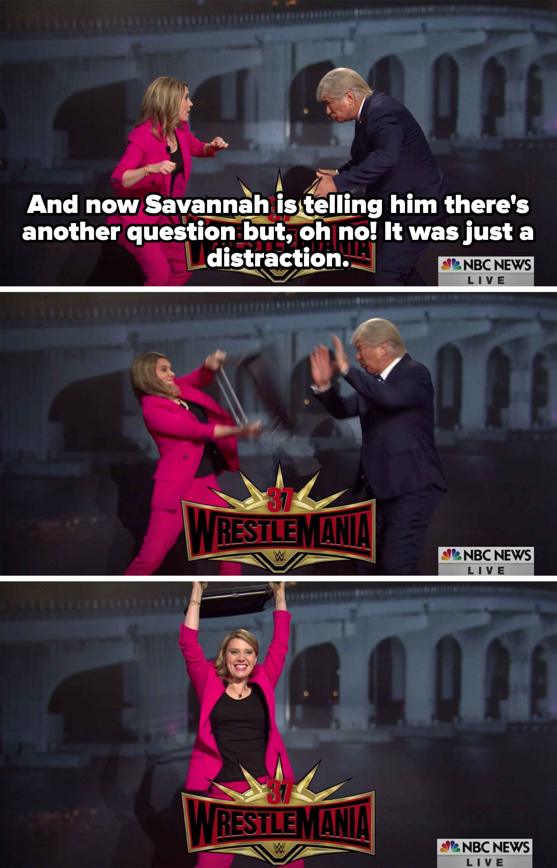 Savannah and Trump wrestling; Trump getting hit over the head with a chair