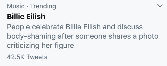 Billie Eilish trends at #1