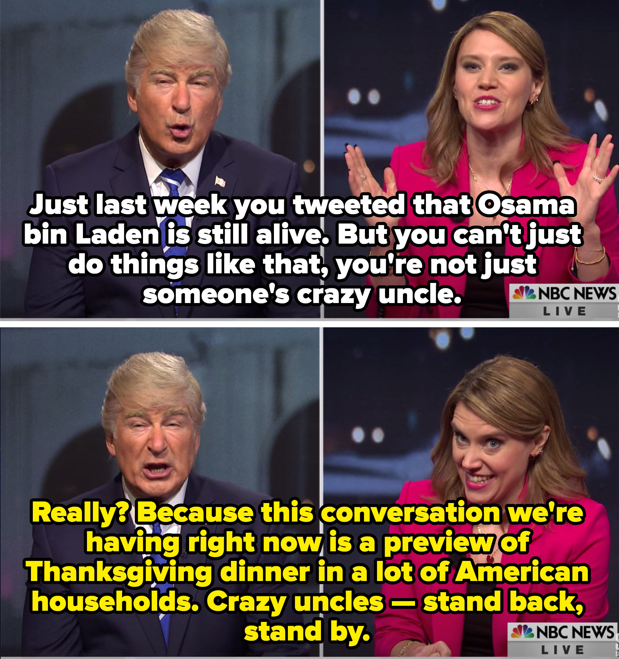 Savannah calling Trump a crazy uncle. Trump saying the conversation is like family at Thanksgiving, and telling crazy uncles to stand back and stand by.