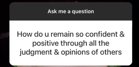 """A fan asking, """"How do you remain so confident and positive?"""""""