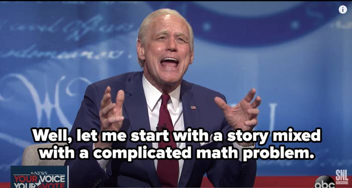 "Biden saying, ""Well, let me start with a story mixed with a complicated math problem."""